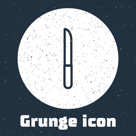 Grunge line Knife icon isolated on grey background. Cutlery symbol. Monochrome vintage drawing. Vector Illustration.