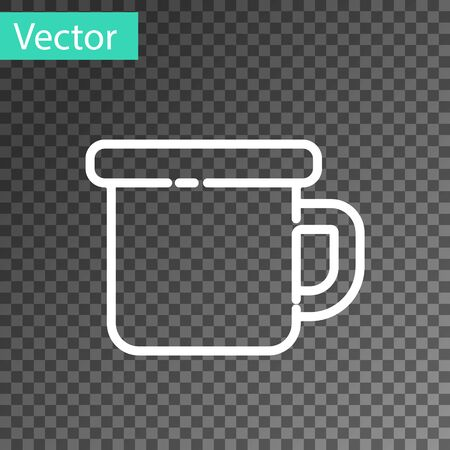 White line Camping metal mug icon isolated on transparent background. Vector Illustration.