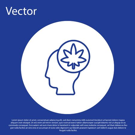 Blue line Male head in profile with marijuana or cannabis leaf icon isolated on blue background. Marijuana legalization. Hemp symbol. White circle button. Vector Illustration. Vettoriali
