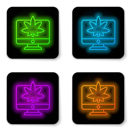 Glowing neon line Computer monitor and medical marijuana or cannabis leaf icon isolated on white background. Online buying. Supermarket basket. Black square button. Vector Illustration.