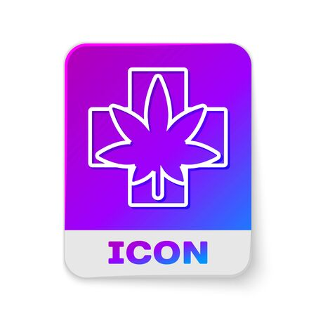 White line Medical marijuana or cannabis leaf icon isolated on white background. Hemp symbol. Rectangle color button. Vector Illustration.