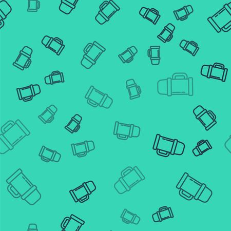 Black line Thermos container icon isolated seamless pattern on green background. Thermo flask icon. Camping and hiking equipment. Vector Illustration.