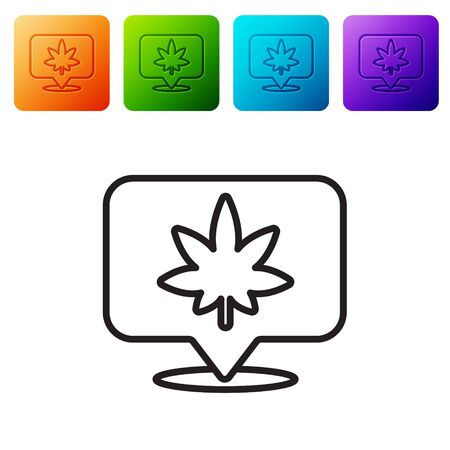 Black line Map pointer and marijuana or cannabis leaf icon isolated on white background. Hemp symbol. Set icons in color square buttons. Vector Illustration. Çizim