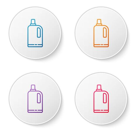 Color line Fabric softener icon isolated on white background. Liquid laundry detergent, conditioner, cleaning agent, bleach. Set icons in circle buttons. Vector Illustration.