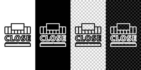Set line Shopping building or market store and text closed icon isolated on black and white background. Shop construction. Vector Illustration.