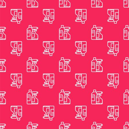 White line Plastic bottles for laundry detergent, bleach, dishwashing liquid or another cleaning agent icon isolated seamless pattern on red background. Vector Illustration.