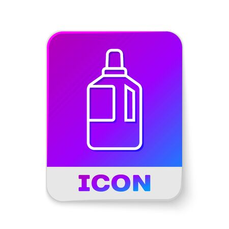 White line Fabric softener icon isolated on white background. Liquid laundry detergent, conditioner, cleaning agent, bleach. Rectangle color button. Vector Illustration.