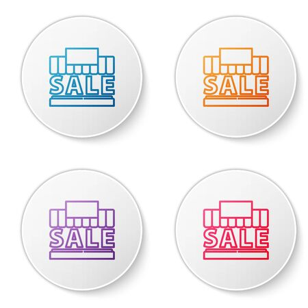 Color line Shopping building or market store icon isolated on white background. Supermarket sale concept. Set icons in circle buttons. Vector Illustration. Illustration