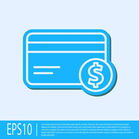 Blue line Credit card and dollar symbol icon isolated on grey background. Online payment. Cash withdrawal. Financial operations. Vector Illustration.