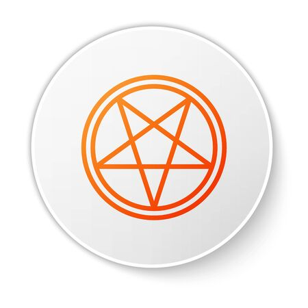 Orange line Pentagram in a circle icon isolated on white background. Magic occult star symbol. White circle button. Vector Illustration.  イラスト・ベクター素材