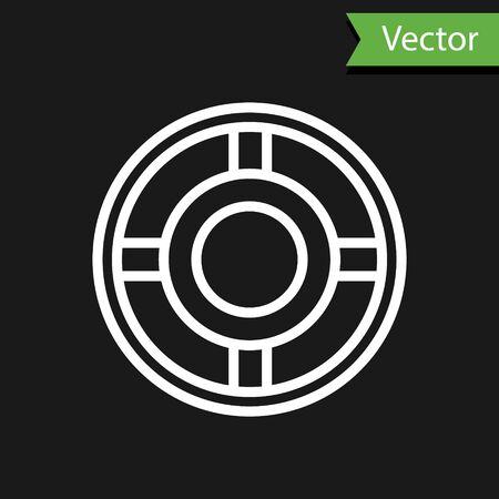 White line Ashtray icon isolated on black background. Vector Illustration.