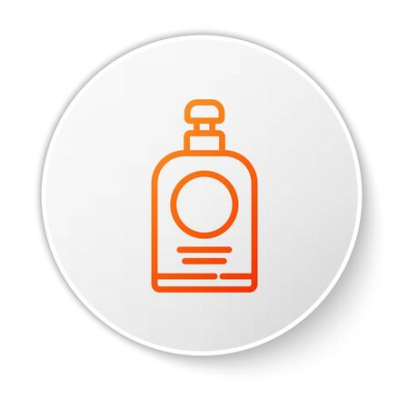 Orange line Hand sanitizer bottle icon isolated on white background. Disinfection concept. Washing gel. Alcohol bottle for hygiene. White circle button. Vector Illustration.