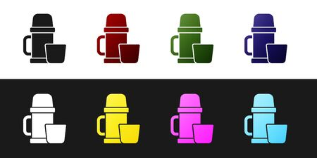 Set Thermos container and cup icon isolated on black and white background. Thermo flask icon. Camping and hiking equipment. Vector Illustration.