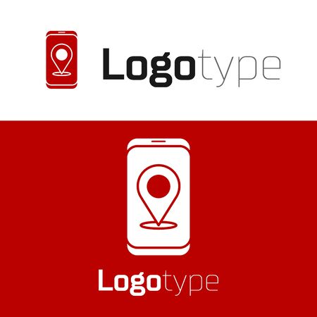 Red Infographic of city map navigation icon isolated on white background. Mobile App Interface concept design. Geolacation concept. Logo design template element. Vector Illustration.