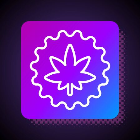 White line Medical marijuana or cannabis leaf icon isolated on black background. Hemp symbol. Square color button. Vector Illustration.