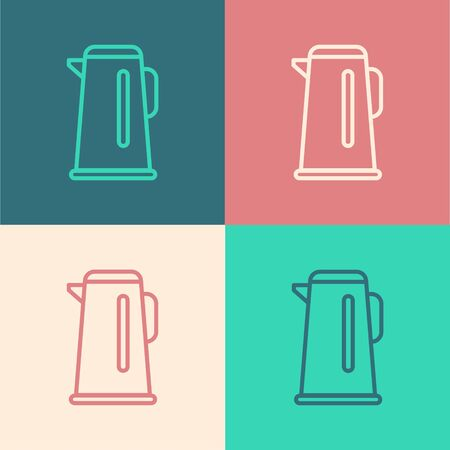 Pop art line Kettle with handle icon isolated on color background. Teapot icon. Vector Illustration.