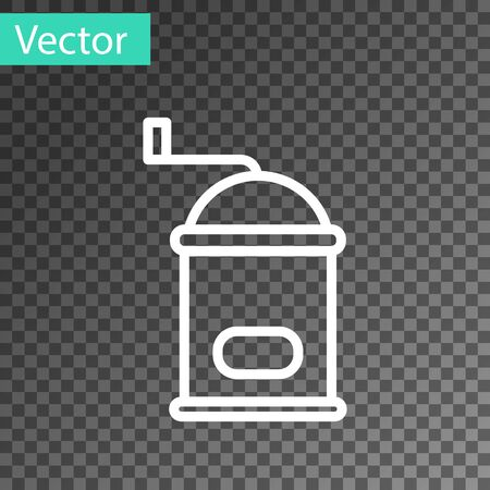 White line Manual coffee grinder icon isolated on transparent background. Vector Illustration.