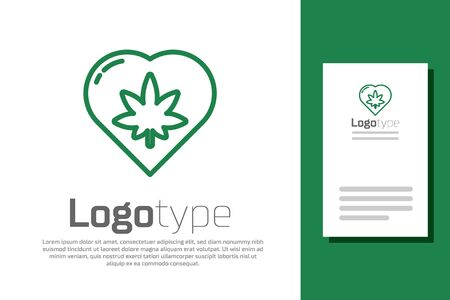 Green line Marijuana leaf in heart shape icon isolated on white background. Hemp symbol. Logo design template element. Vector Illustration.