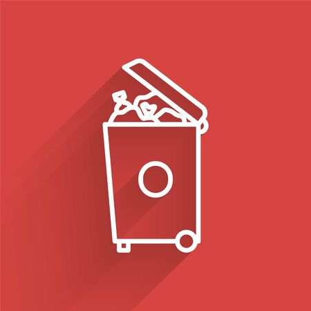 White line Trash can icon isolated with long shadow. Garbage bin sign. Recycle basket icon. Office trash icon. Vector Illustration.