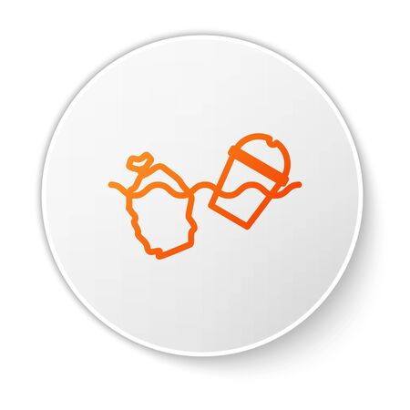 Orange line The problem of pollution of the ocean icon isolated on white background. The garbage, plastic, bags on the sea. White circle button. Vector Illustration.