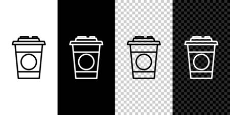 Set line Paper glass icon isolated on black and white background. Soda drink glass. Fresh cold beverage symbol. Vector Illustration. 向量圖像