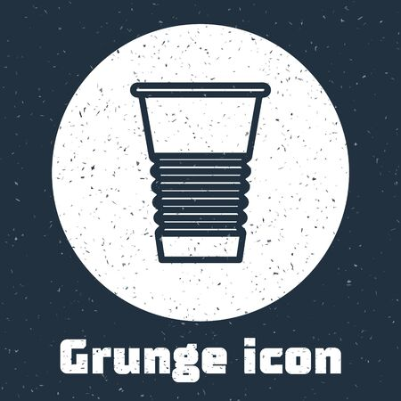 Grunge line Paper glass icon isolated on grey background. Soda drink glass. Fresh cold beverage symbol. Monochrome vintage drawing. Vector Illustration.