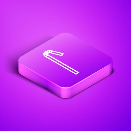 Isometric line Drinking plastic straw icon isolated on purple background. Purple square button. Vector Illustration. Ilustração