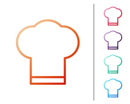 Red line Chef hat icon isolated on white background. Cooking symbol. Cooks hat. Set color icons. Vector Illustration. Vettoriali