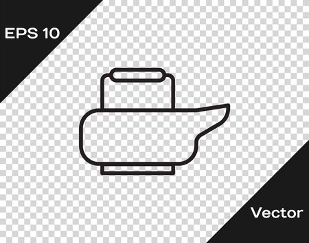 Black line Bedpan icon isolated on transparent background. Toilet for bedridden patients. Vector Illustration.
