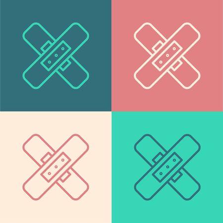 Pop art line Crossed bandage plaster icon isolated on color background. Medical plaster, adhesive bandage, flexible fabric bandage. Vector Illustration.