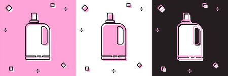 Set Fabric softener icon isolated on pink and white, black background. Liquid laundry detergent, conditioner, cleaning agent, bleach. Vector Illustration.
