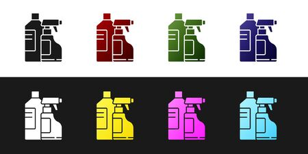 Set Plastic bottles for laundry detergent, bleach, dishwashing liquid or another cleaning agent icon isolated on black and white background. Vector Illustration.
