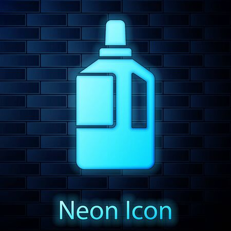 Glowing neon Fabric softener icon isolated on brick wall background. Liquid laundry detergent, conditioner, cleaning agent, bleach. Vector Illustration. Stock Illustratie