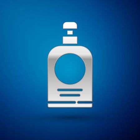 Silver Hand sanitizer bottle icon isolated on blue background. Disinfection concept. Washing gel. Alcohol bottle for hygiene. Vector Illustration.