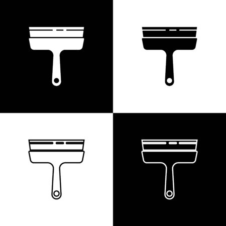 Set Cleaning service with of rubber cleaner for windows icon isolated on black and white background. Squeegee, scraper, wiper. Vector Illustration.