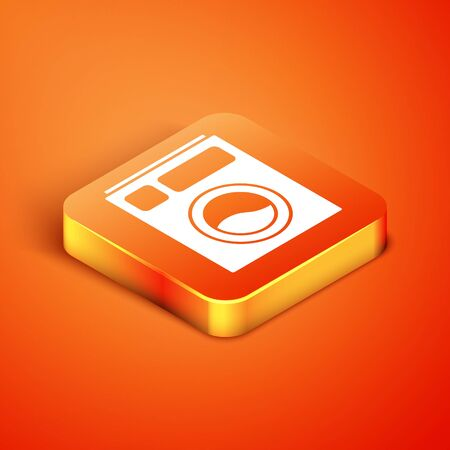 Isometric Washer icon isolated on orange background. Washing machine icon. Clothes washer - laundry machine. Home appliance symbol. Vector Illustration.