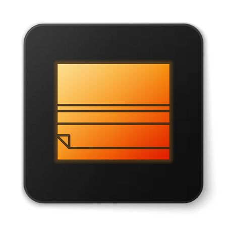 Orange glowing neon Rolling paper icon isolated on white background. Black square button. Vector Illustration.