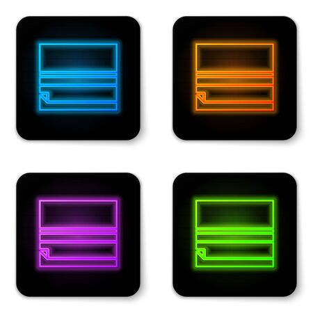 Glowing neon Rolling paper icon isolated on white background. Black square button. Vector Illustration.