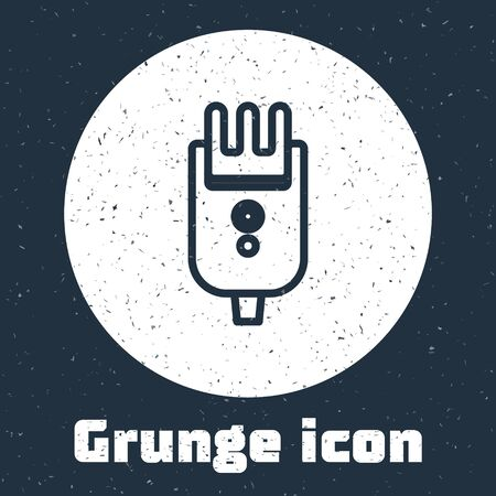 Grunge line Electrical hair clipper or shaver icon isolated on grey background. Barbershop symbol. Monochrome vintage drawing. Vector Illustration.