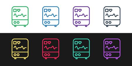 Set line Computer monitor with cardiogram icon isolated on black and white background. Monitoring icon. ECG monitor with heart beat hand drawn. Vector Illustration.
