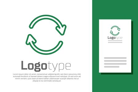 Green line Refresh icon isolated on white background. Reload symbol. Rotation arrows in a circle sign. Logo design template element. Vector Illustration.