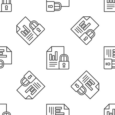 Grey line Document and lock icon isolated seamless pattern on white background. File format and padlock. Security, safety, protection concept. Vector Illustration.