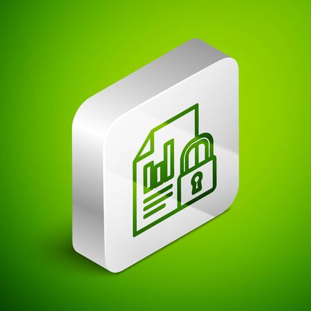 Isometric line Document and lock icon isolated on green background. File format and padlock. Security, safety, protection concept. Silver square button. Vector Illustration.