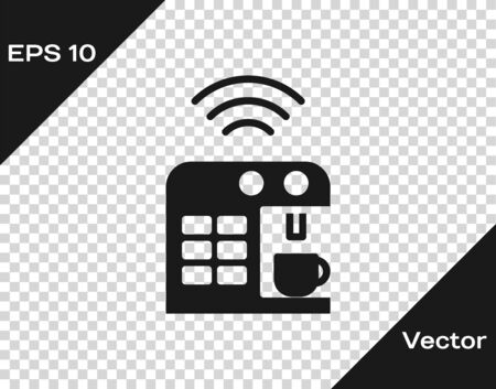 Black Smart coffee machine system icon isolated on transparent background. Internet of things concept with wireless connection.  Vector. Ilustracja