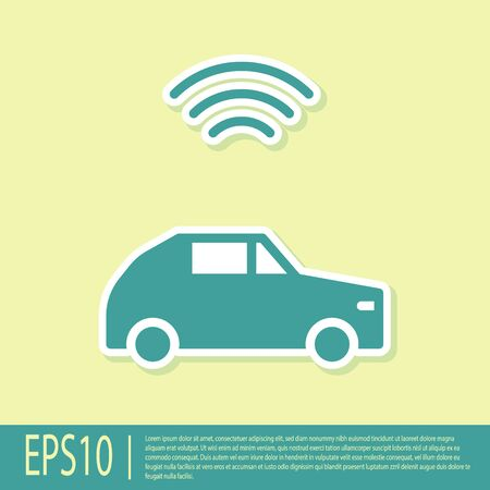 Green Smart car system with wireless connection icon isolated on yellow background.  Vector.
