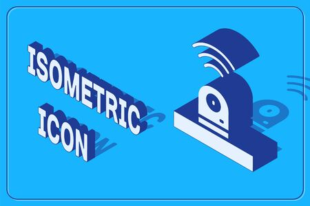 Isometric Smart security camera icon isolated on blue background. Internet of things concept with wireless connection.  Vector.