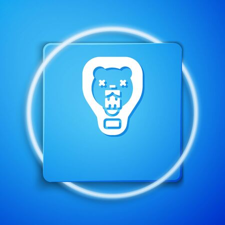 White Bear head on shield icon isolated on blue background. Hunting trophy on wall. Blue square button. Vector.