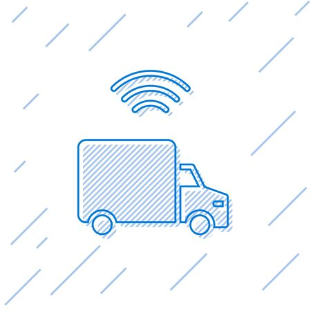 Blue line Smart delivery cargo truck vehicle with wireless connection icon isolated on white background.  Vector.