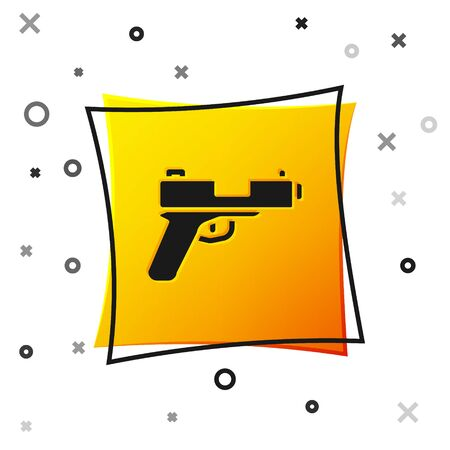 Black Pistol or gun icon isolated on white background. Police or military handgun. Small firearm. Yellow square button. Vector. 스톡 콘텐츠 - 150559962