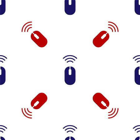 Blue and red Wireless computer mouse system icon isolated seamless pattern on white background. Internet of things concept with wireless connection.  Vector.